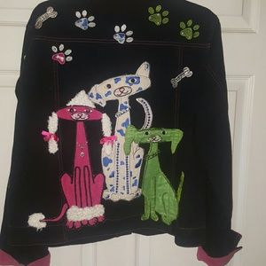 Colorful Pet Lovers Jean Jacket- Xlg- 1X